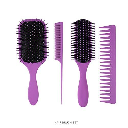 WANGZ Brosse à Cheveux Set, démêlant Brosse Paddle Brosse Ronde Brosse à Cheveux Queue Peigne Humide Pinceau Sec for Les Femmes Hommes Cheveux Styling, Pack 4 (Color : Purple)