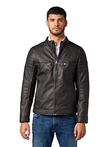 TOM TAILOR Herren Jacken Bikerjacke aus Lederimitat Black,L,29999,2999