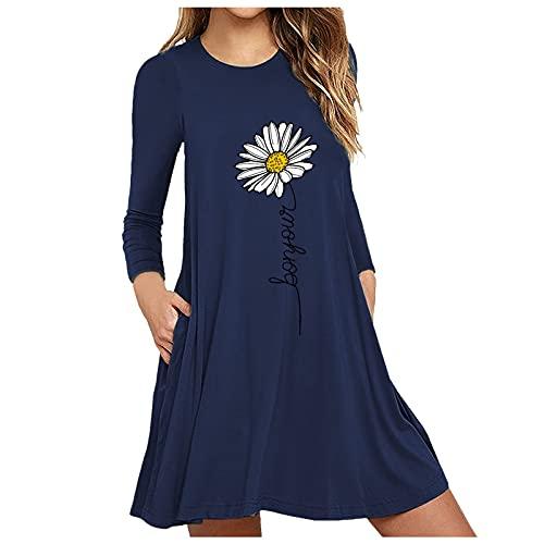 NISOWE Mini vestido suelto de manga larga con estampado de flores, para cóctel, fiesta, playa, estilo casual, azul, M-36/38/40