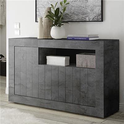 Noviomeuble - Aparador gris antracita moderno 140 cm, 3 puertas Urban