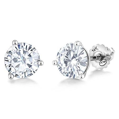 14K White Gold Stud Earrings Set Round Forever Classic Faint Color 1.60 ct (DEW) 6mm Created Moissanite from Charles & Colvard