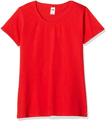 Fruit of the Loom Valueweight T-Shirt 5 Pack Camiseta, Rojo (Red 40), XL (Pack de 5) para Mujer