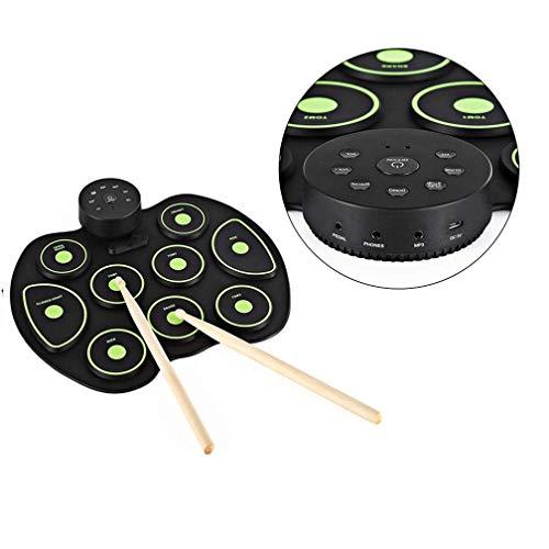 Portátiles de batería, USB Tamaño Roll-Silicon Grupo de percusión digital Batería electrónica compacta 9 Drum Pads con baquetas Pedales for principiantes niños de los niños kyman (Color : Green)
