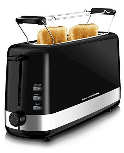 Bonsenkitchen 4 Scheiben Toaster mit 7 Bräunungsstufen und Krümelschublade, 750W, Auto-Pop-Up Retro Toaster mit Auftau und Aufwärm Funktion, Rot Toaster TA8001