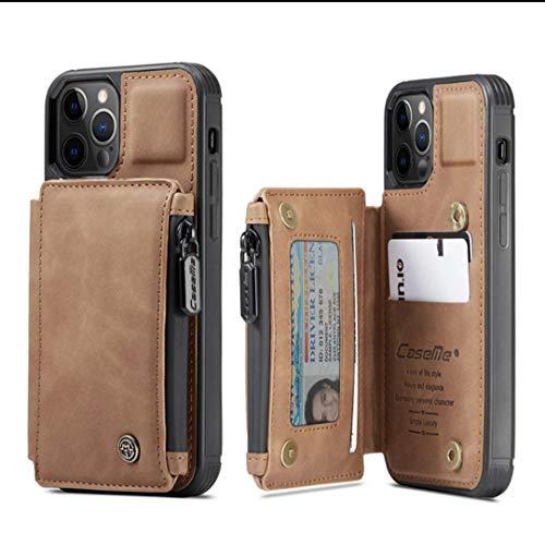 Funda tipo cartera de piel para iPhone 11 Pro Max con doble hebilla magnética, antigolpes, con tarjetero, cierre de cremallera, protección antirrobo, color marrón (iPhone 11 Pro, Brown)