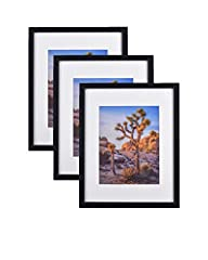 """CLASSIC PICTURE FRAME DESIGN - 20x24 Inch black Picture Frame includes an ivory color Mat for 16x20"""" photos. These Black Picture Frames with Glass come with easy-opening turn Tabs & hassle-free horizontal & vertical Format Hangers for hanging flat ag..."""