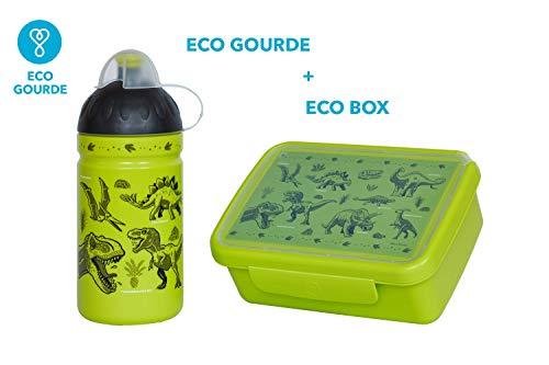 ECO Wasser Flasche 0,5L Gesund Flasche® für Kinder, BPA-frei, ohne Phthalate, bruchsicher, langlebig und Sympa! Made IN EU (Eco Set Dinosaurier)