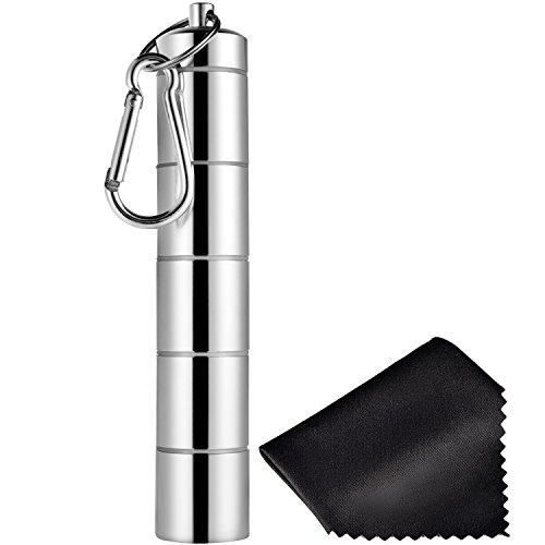Pastillero Portátil de 5 Compartimientos Contenedor de Aluminio de Aleación de Medicinas Impermeable con Llavero y Paño Negro para Viaje Acampada al Aire Libre