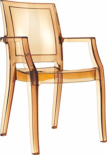 Fiesta Acryl Plexiglas Armlehnstuhl Arthur Ghost, Sehr stabil und stapelbar! Abbildung in Amber transparent.