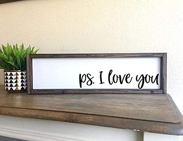 CELYCASY P S I Love You Framed Wood Sign