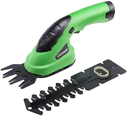Lichamp 2 in 1 Electric Hand Held Grass Shear Hedge Trimmer Shrubbery Clipper Cordless Battery product image