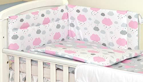 3 PIÈCES Ensemble literie pour lit d'enfant & lit bébé linge de lit 100% Coton (Nuages Gris Rose, 140x70cm)