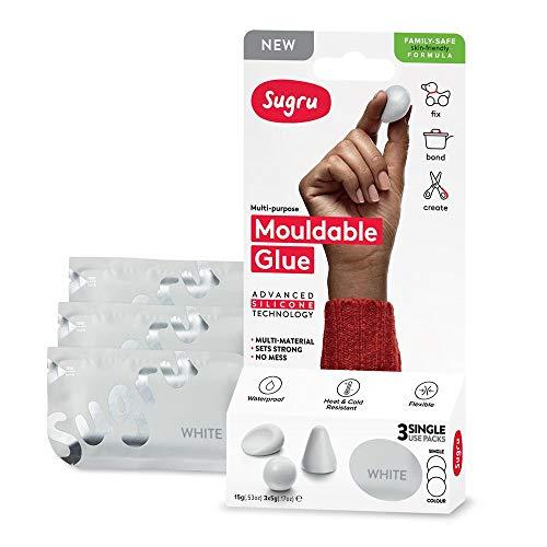 Sugru Family-Safe Formula Colla modellabile: retail 3-pack (bianca) / retail-packaged