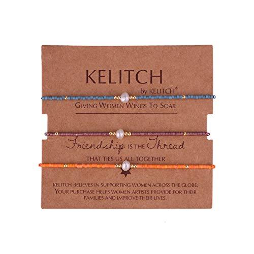 KELITCH 3 STK Mischen Perle Farbe Miyuki Perlen Charme Freundschaft Armbänder Handgefertigt Strecken Armband Einstellbar Armbänder Zum Damen Mädchen - Kombination F