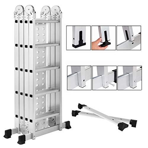 19.5ft Heavy Duty Gaint Aluminum Multi Purpose Folding Ladder Scaffold Ladders with 2 Platform Plates- 330Lbs