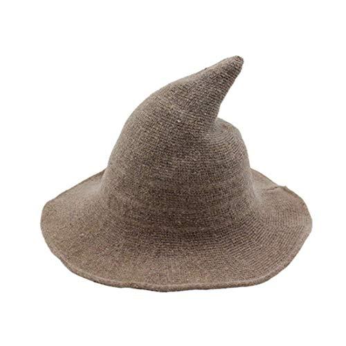Zukmuk Sombrero de bruja unisex para disfraz de Halloween o Halloween, caqui, Talla nica