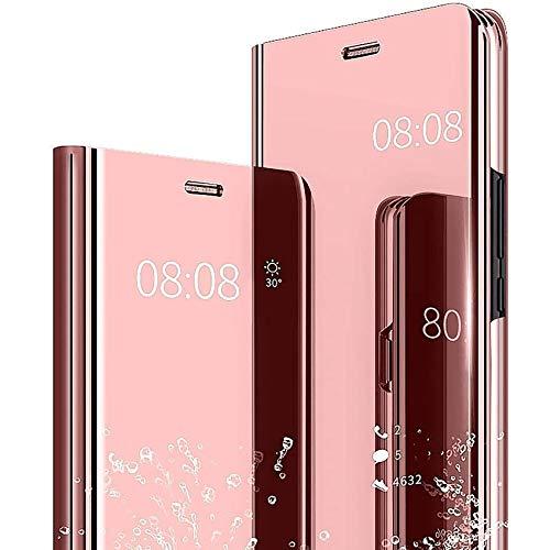 TOPOFU Handyhülle für Samsung Galaxy S21 Plus 5G,Transparent Flip Spiegel Schutzhülle,Mode Kratzfest Stoßfest Leder Hülle mit Ständer Funktion,PC/PU Mirror Original Hülle Cover,Rosé Gold