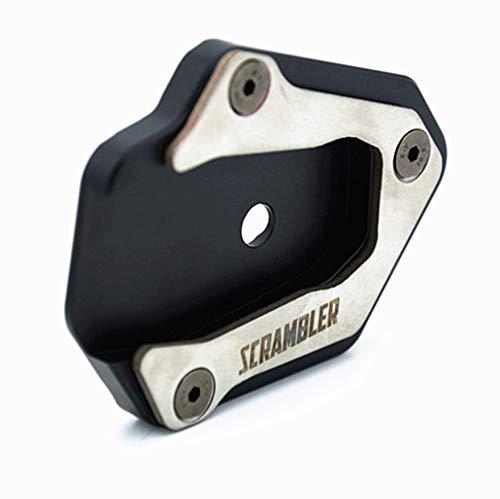 Motorrad-Zubehör Seitenständer Ständer Verlängerung Trägerplatte/Fit for Ducati Scrambler Ständerunterl Pad Ständer Vergrößern Platte (Color : Silver)