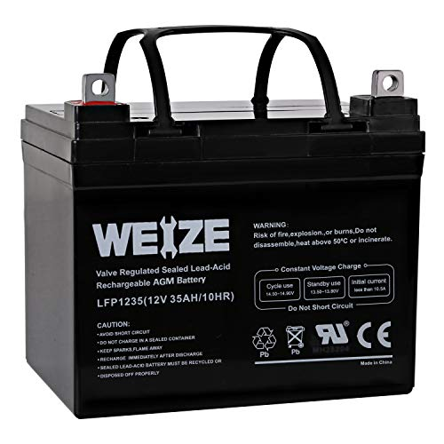 Weize 12V 35AH Battery Rechargeable SLA Deep Cycle AGM Replace 12 Volt 33AH 34AH 36AH 30AH, in Series 24V 36V 48V for Power Patrol SLA1156 Ritar RA12-33 Renogy PV Solar Panels Bat-Caddy X3R Golf Caddy