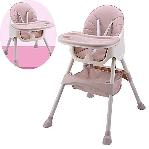 Baby Multifunctionele Eetstoel Opvouwbaar, Hoge kinderstoel, Baby Hoge Stoel, Afneembare Lade, Vijfpunts Veiligheidsriem/Pu Zitkussen, 2 Verstelbare Zitplaatsen met verschillende Hoogte roze