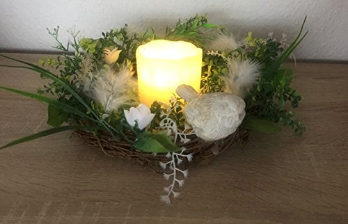 Unbekannt Kranz Dekokranz mit LED Beleuchtung LED Kerze Ø 22 cm mit Vogel