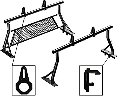 TMS 800LB Non-Drilling Universal Low Profile Pickup Truck Sport Bar Ladder Rack 2 Bars with Mounting Clamps Load Stops Window Protector(Patent Pending)(27-3/4'')