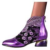 Binggong Botines clásicos para mujer, retro, de malla, elegantes, con tacón en bloque, cómodos, para otoño, bonitas botas para mujer