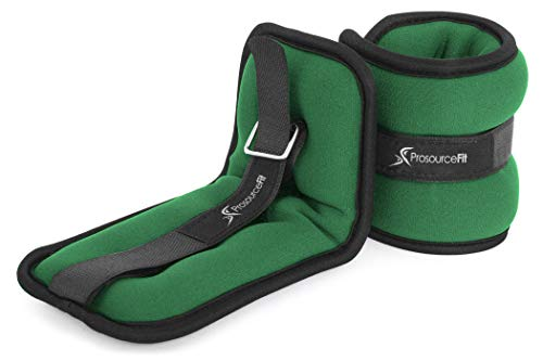 ProSource Ankle Weights Set of 2, Adjustable Comfort Fit 0.5kg, for Women, Men, or Children, Green
