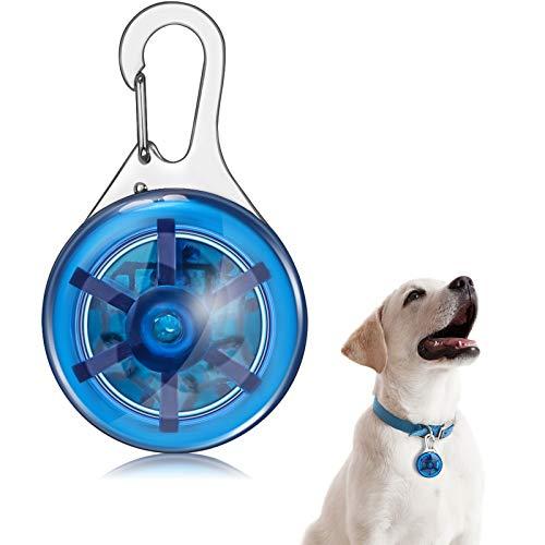 Haustier Halsband LED Licht Klammer Haustierlicht Sicherheit Hunde und Katzen LED Licht Wasserdichter Halsband Anhänger für Nachtwandern Laufen Reiten (Blau)