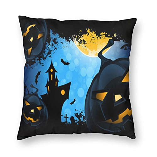 Decorative Cushion Covers with Halloween and Blue Sky,for Sofa Office Decor Cotton and Linen Cushion Covers 20*20Inch
