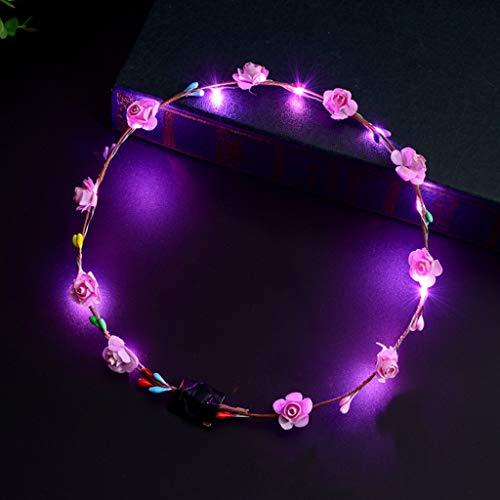 HOTPINK1Women Girls LED Light Up Fleur Bandeau Clignotant Lueur Couronne Partie Cheveux Guirlande