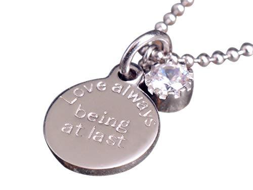 Nico de mujer plata cadena con colgante Disc de plata de ley 925alrededor Scheibe liso cadena de bolas de piedra Circonita ske278