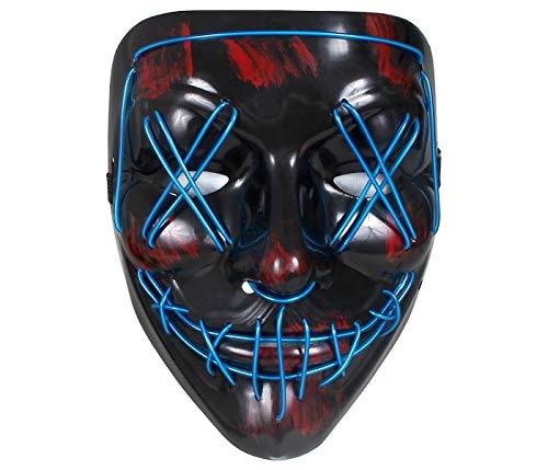 Maschera Luminosa La Notte del Giudizio The Purge Luci LED Blu Occhi X Horror per Travestimento Costume Halloween Carnevale Adulti Ragazzi Uomo Donna