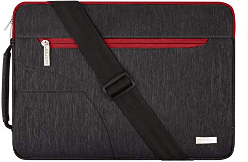 MOSISO Laptop Shoulder Bag Compatible with MacBook Pro/Air 13 inch, 13-13.3 inch Notebook Computer, Polyester Briefcase Sleeve with Front Arc Pocket, Red