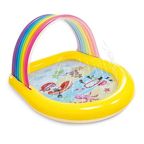 DEAR-JY Piscina para niños,Piscinas hinchables, 147 × 130 × 86 cm, Arcoiris Squirting Water Swim Play Center Piscinas Familiares, Piscina Infantil Inflable para Interiores y Exteriores