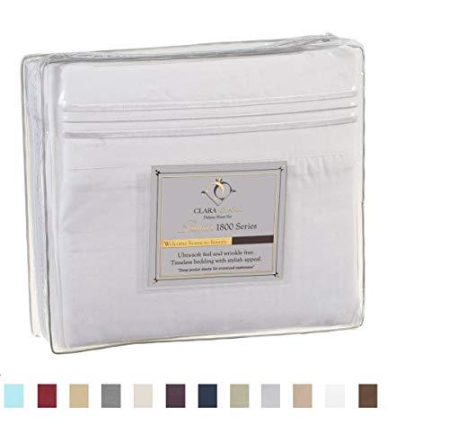 Clara Clark Premier 1800 Series 4pc Bed Sheet Set - Queen, White,Hypoallergenic, Deep Pocket