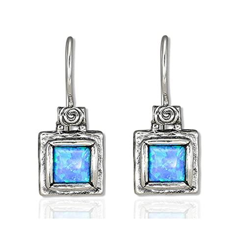 SHABLOOL Pendientes de plata de ley 925 con cabujón azul claro ópalo piedra preciosa eterna mirada – ópalo regalo cumpleaños mujer joyería hecha a mano regalo esencial para ella hermoso detalle fino