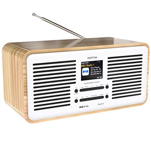 Azatom Duplex DAB+ FM Digitalradio & Wecker – Bluetooth 5.0 – Stereo-Lautsprecher – Doppelalarm – Farbiges LCD-Display – Aufladen per USB – Premium Sound (Eiche)