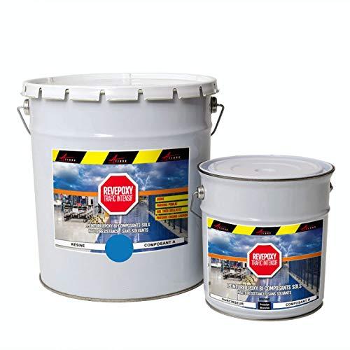 Pintura para suelo Revepoxy, Trafico intenso: resina epoxi para suelo hormigón: fábrica, taller parking – azul cielo ral 5015 – Kit de 5 kg (hasta 10 m2 para 2 capas) – Arcane industrias