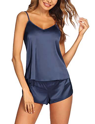 PEATAO Mujer Conjunto de Pijama Satén Corto Camisón Sin Mangas Pijama de Camisola Camiseta de Tirantes Sexy Ropa de Dormir Verano Cómodo
