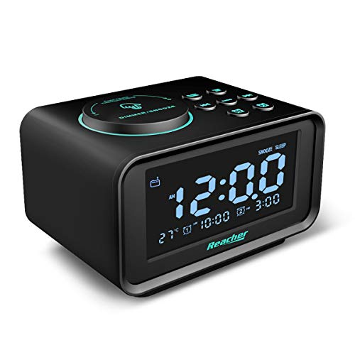 Radiowecker,REACHER FM Digitaler Wecker mit USB-Anschlüssen,Dual-Alarm,6 Wecker Geräusche,Dimmerfunktion,Schlummerfunktion, Thermometer Anzeige,Sleep-Timer, kleine Größe für Schlafzimmer (Schwarz)