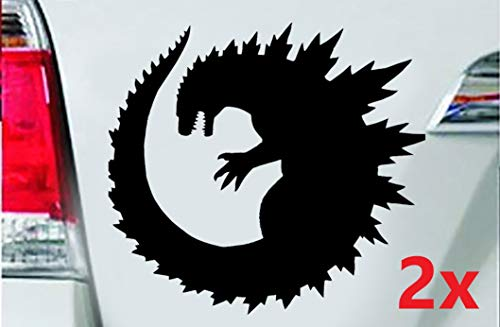 LEON-FOLIEN 2 Aufkleber Godzilla 8x7,5cm Science Fiction Film Autoaufkleber Sticker Autotattoo Wandtattoo Tattoo Tuning Glanz Folie in Schwarz - 2 Stück