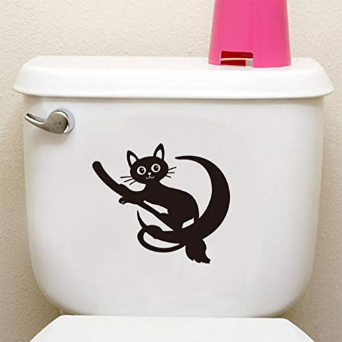GEYKY Cute Cat Riding A Broom Toilet/Wall Sticker Bathroom Cupboard Decoration Vinyl for Home Decals Waterproof Lovely Stickers