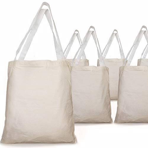 GIFTEXPRESS Pack of 12, 12.75'H x 10.65' W Natural Color Canvas Tote Bag/ Canvas Craft Bags/ Canvas Grocery bags