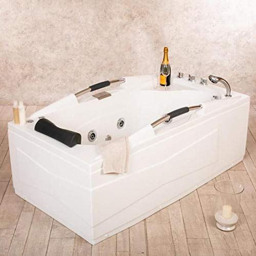 Bagno Italia Bañera de hidromasaje para 1 persona, 9 chorros, 160 x 85 cm, cromoterapia, grifería incluida