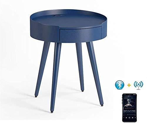 HLJ Intelligente Außen End Table mit Bluetooth-Lautsprecher, Wireless-Ladegerät, LED-Akzentbeleuchtung, 360-Grad-Premium Sound Beistelltisch USB-Lade Tabelle 54x45cm (Color : C)