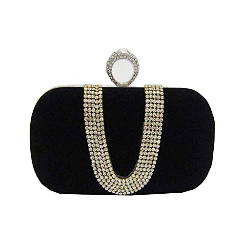Sac À Main Daim Velours Strass Stud One Ring Decor Soirée Cocktail Embrayage Sac Noir