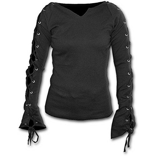 Spiral Direct Gothic Elegance-Laceup Sleeve Top Camisa Manga Larga, Ne