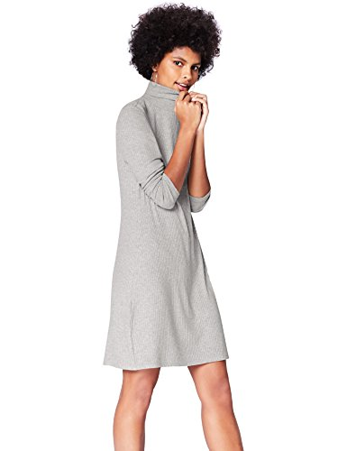 Marca Amazon - find. Vestido de Canalé con Cuello Alto para Mujer, Gris, 38, Label: S