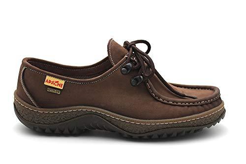 APACHE - Zapato mocasín Artesanal Apache de Piel con Cordon